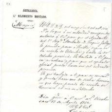 Militaria: 5º REGIMIENTO MONTADO.ARTILLERÍA. 13 DE AGOSTO DE 1862.. Lote 45707649