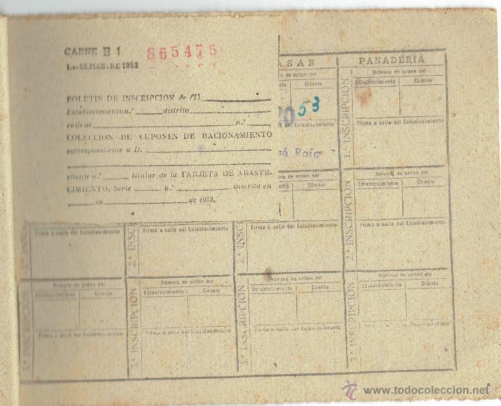 PS4964 CARTILLA DE RACIONAMIENTO CON CUPONES - BARCELONA 1952 (Militar - Propaganda y Documentos)