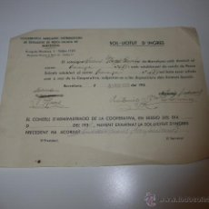 Militaria: COOPERATIVA DETALLISTES PESCA SALADA DE BARCELONA, 1938, GUERRA CIVIL, DOCUMENTO. Lote 46048373