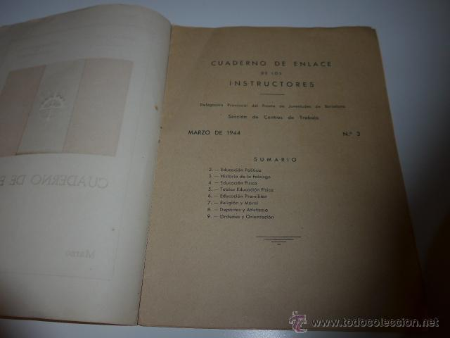Militaria: cuaderno de enlace, falange, frente de juventudes de Barcelona, 1944. centros de trabajo - Foto 3 - 46048397