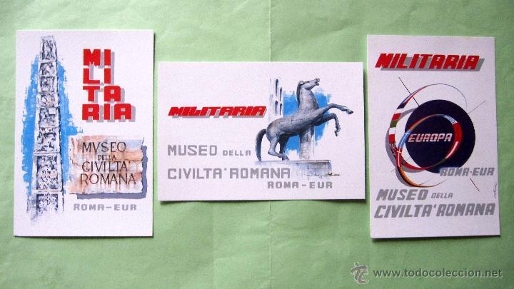 2ª MUESTRA MILITARIA EN EUROPA. ROMA 1.990. TRES TARJETAS. EDICION LIMITADA 1000 U. (Militar - Propaganda y Documentos)