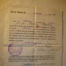 Militaria: ANTIGUO DOCUMENTO MILITAR CAJA DE RECLUTA CASTALLA FIRMA DE SU ALCALDE DEL AÑO 1922. Lote 46430868