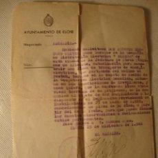 Militaria: ANTIGUO DOCUMENTO AYUNTAMIENTO ELCHE FIRMA ALCALDE 1946. Lote 46431965