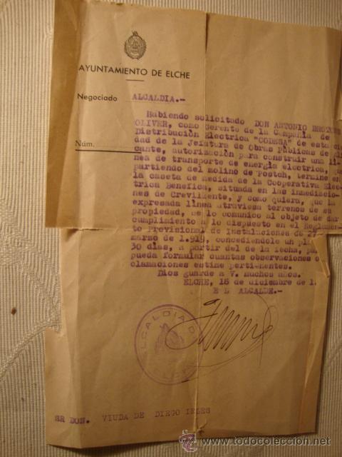 ANTIGUO DOCUMENTO AYUNTAMIENTO ELCHE FIRMA ALCALDE 1946 (Militar - Propaganda y Documentos)