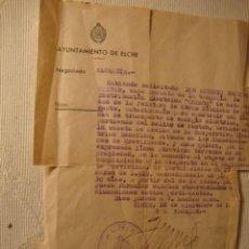 Militaria: ANTIGUO DOCUMENTO AYUNTAMIENTO ELCHE FIRMA ALCALDE 1946. Lote 46432169