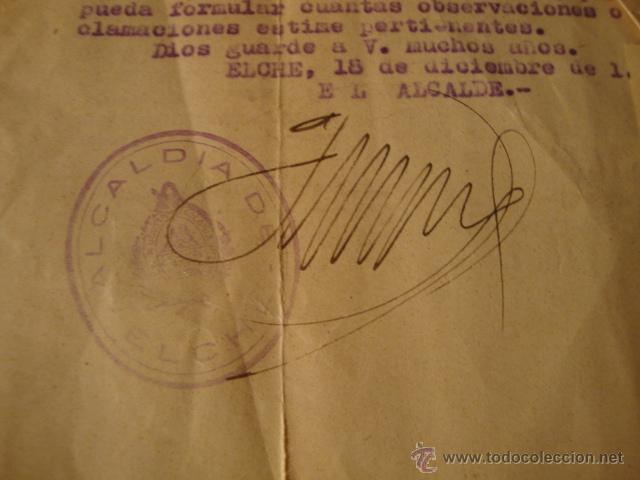 Militaria: ANTIGUO DOCUMENTO AYUNTAMIENTO ELCHE FIRMA ALCALDE 1946 - Foto 2 - 46432169