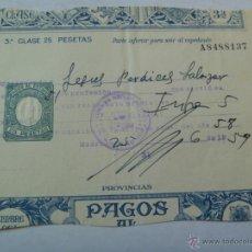 Militaria: ZONA RECLUTA MADRID , RECIBO REVISTA ANUAL DE SOLDADO DE PALENCIA , 1959. Lote 46631665