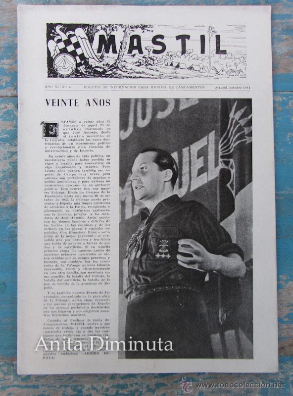 ANTIGUA REVISTA MASTIL - BOLETIN MANDOS CAMPAMENTOS DEL FRENTE DE JUVENTUDES - 1953 - AÑO IX Nº 4 - (Militar - Propaganda y Documentos)