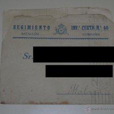 Militaria: DOCUMENTO CARTA MILITAR. REGIMIENTO DE INFANTERÍA CEUTA Nº 60. AÑO 1930. Lote 46727055