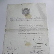 Militaria: NOMBRAMIENTO A SARGENTO, POR DON JUAN ALBINO CAPITAN DEL BATALLON CRUZ DE AFRICA NUM. 2, CON FIRMA A. Lote 46904474