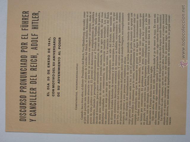 DISCURSO DE ADOLF HITLER EL DÍA 30 DE ENERO DE 1945. VER MAS FOTOS. (Militar - Propaganda y Documentos)