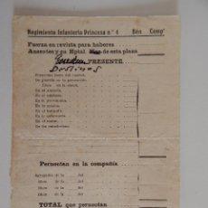 Militaria: HOJA DEL REGIMIENTO INFANTERÍA PRINCESA Nº 4. AÑO: 191? FUERZAS EN REVISTA, AUSENTES Y EN HOSPITAL... Lote 46948179