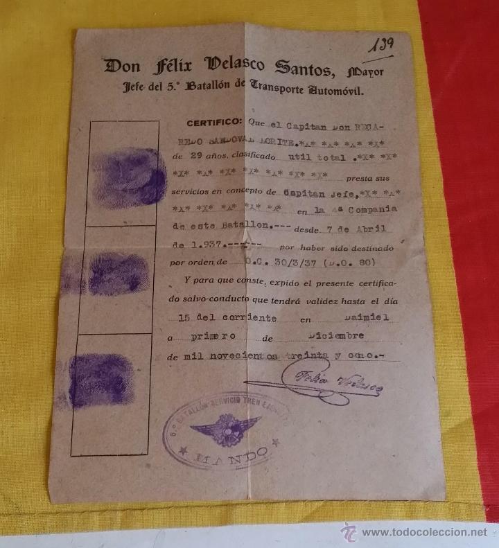 GUERRA CIVIL REPUBLICA SALVO CONDUCTO CAPITAN 5º BATALLON DE TRANSPORTE AUTOMOVIL, TREN EJERCITO (Militar - Propaganda y Documentos)