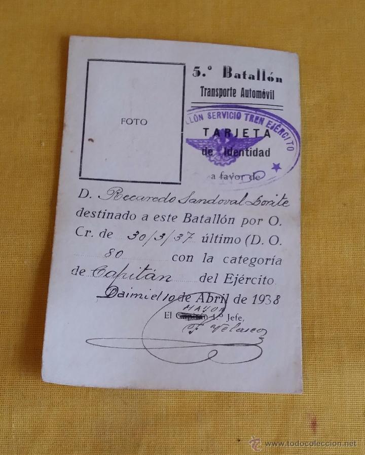 Militaria: GUERRA CIVIL REPUBLICA SALVO CONDUCTO CAPITAN 5º BATALLON DE TRANSPORTE AUTOMOVIL, TREN EJERCITO - Foto 4 - 46965012