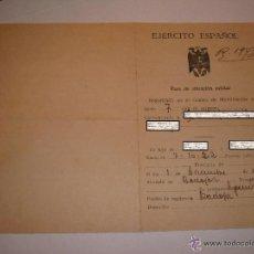 Militaria: PASE SITUACIÓN MILITAR EJÉRCITO ESPAÑOL 1943. Lote 47026017