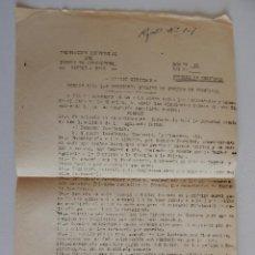Militaria: OFICIO CIRCULAR. DELEGACIÓN PROVINCIAL DEL FRENTE DE JUVENTUDES. CENTROS DE ENSEÑANZA. AÑO: 1943. Lote 47175521