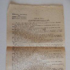 Militaria: CIRCULAR 14. DELEGACIÓN PROVINCIAL DEL FRENTE DE JUVENTUDES. 2ª EXPOSICIÓN PROVINCIAL DE ARTE. 1943. Lote 47176043