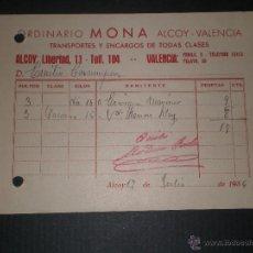 Militaria: DOCUMENTO GUERRA CIVIL ALCOY, ORDINARIO MONA, CURIOSA FECHA 17 DE JULIO DE 1936. Lote 47259909