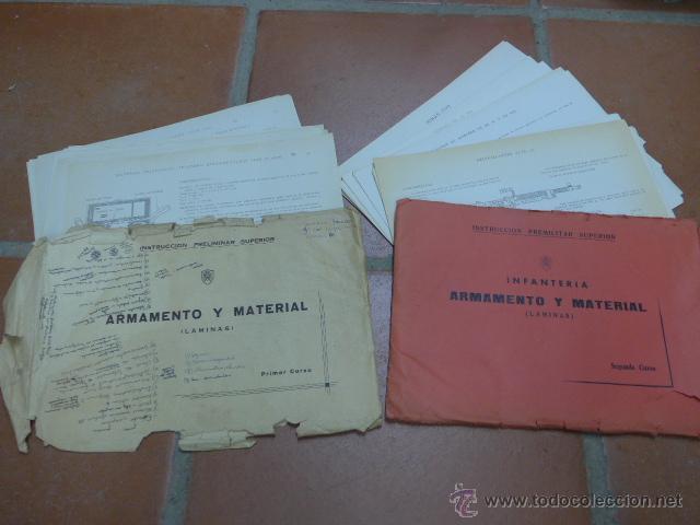 ARMAMENTO Y MATERIAL, GRAN LOTE DE LAMINAS DE ARMAS EJERCITO ESPAÑOL. IPS, FALANGE. DOS CURSOS (Militar - Propaganda y Documentos)