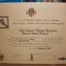 Militaria: DIPLOMA DE LA ORDEN DE SAN HERMENEGILDO-CABALLERO-CRUZ-TENIENTO CORONEL MUTILADO. Lote 47418539