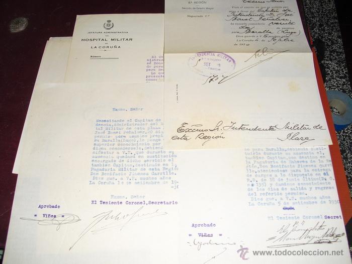 1930 CUATRO DOCUMENTOS SOBRE PERMISO POR ASUNTOS PROPIOS DE CAPITAN (Militar - Propaganda y Documentos)