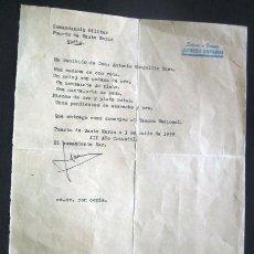 Militaria: DONATIVO AL EJERCITO NACIONAL 1939. PUERTO DE SANTA MARIA. CADIZ. ENVIO CERTIFICADO INCLUIDO¡¡¡. Lote 47793012
