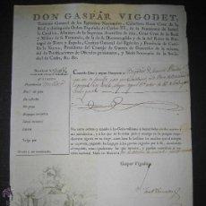 Militaria: DON GASPAR VIGODET - CABALLERO CARLOS III, GRAN CRUZ SAN FERNANDO...-PASAPORTE -AÑO 1820- (DX-3). Lote 47829960