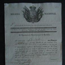 Militaria: GALICIA.CORUÑA.CARBALLO. MILICIA NACIONAL.TITULO DE SEGUNDO AYUDANTE. 1842. Lote 48113882