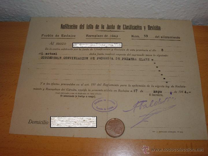 DOCUMENTO MILITAR ANTIGUO, BADAJOZ 1944 (Militar - Propaganda y Documentos)
