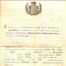 Militaria: ZONA DE RECLUTAMIENTO Y RESERVA DE JÁTIVA - AÑO 1910 - LICENCIA ABSOLUTA DE 12 AÑOS DE SERVICIOS. Lote 48577143