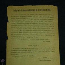 Militaria: ORDEN MILITAR ORIGINAL DE LA ACADEMIA INFANTERIA TOLEDO 8 DE MAYO 1902 22 X 16CMS. Lote 48607889