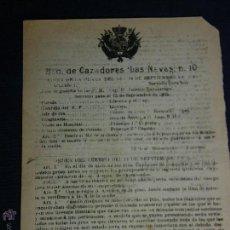 Militaria: BATALLÓN CAZADORES LAS NAVAS Nº10 ORDEN MILITAR DE LA PLAZA 14 SEPTIEMBRE 1905 21,5X16CMS. Lote 48626839