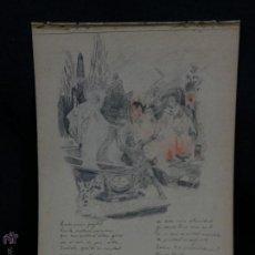 Militaria: DIBUJO JOSE MARIA BORBÓN ALFONSO XIII ACADEMIA TOLEDO 1903 POEMA ZORRILLA DEDICADO ANTONIO VILLALBA. Lote 48628489