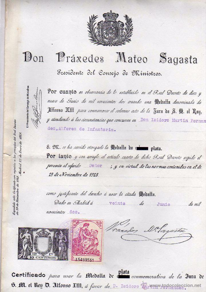 CERTIFICADO PARA USAR LA MEDALLA DE PLATA CONMEMORATIVA DE LA JURA DE ALFONSO XIII. PRÁXEDES SAGASTA (Militar - Propaganda y Documentos)