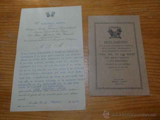 LOTE DOCUMENTOS HERMANDAD NUESTRA SEÑORA DE LOS REYES (Militar - Propaganda y Documentos)