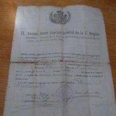 Militaria: DOCUMENTO MILITAR DE MURCIA, DE 1907. Lote 48680579