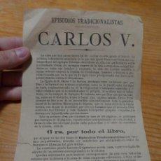 Militaria: PUBLICIDAD DE LIBRO CARLOS V, EPISODIOS TRADICIONALISTAS, CARLISTA.. Lote 48680667