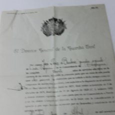 Militaria: DIRECTOR GENERAL DE LA GUARDIA CIVIL, DISTINCION 2 GALONES MERITOS COMANDANCIA TARRAGONA. Lote 48815884