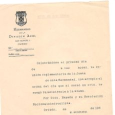 Militaria: HOJA EN BLANCO DE LA HERMANDAD DE LA DIVISIÓN AZUL DE OVIEDO. Lote 48839616