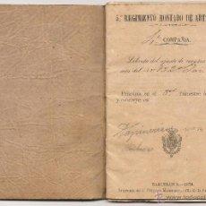 Militaria: MASITA DE MIEMBRO DEL 5º REGIMIENTO DE ARTILLERÍA DEL AÑO 1873. Lote 48840955