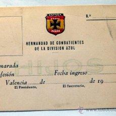Militaria: CARNET DE LA HERMANDAD DE COMBATIENTES DE LA DIVISION AZUL VALENCIA. Lote 48842987