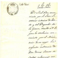Militaria: CARTA DEL SUBSECRETARIO DE GUERRA CON SELLO DEL MINISTERIO DE GUERRA AÑO 1835. Lote 49036149