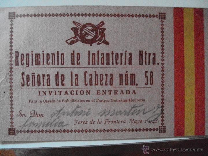 INVITACION DEL REGIMIENTO DE INFANTERIA DE JEREZ A LA CASETA DE LA LOCALIDAD 1948 (Militar - Propaganda y Documentos)