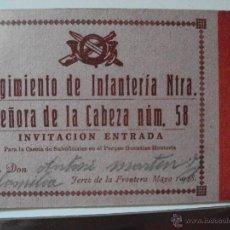 Militaria: INVITACION DEL REGIMIENTO DE INFANTERIA DE JEREZ A LA CASETA DE LA LOCALIDAD 1948. Lote 49450065