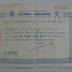 Militaria: GRUPO REGULARES DE MELILLA Nº 2: PARTICIPACION LOTERIA NACIONAL , 1957. Lote 49492983