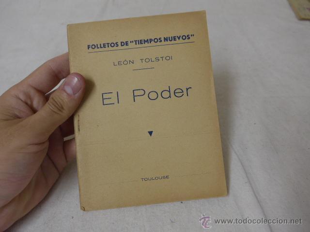 LIBRITO DE LEON TOLSTOI, EL PODER. CNT, HECHO EN EXILIO TOULOUSE (Militar - Propaganda y Documentos)