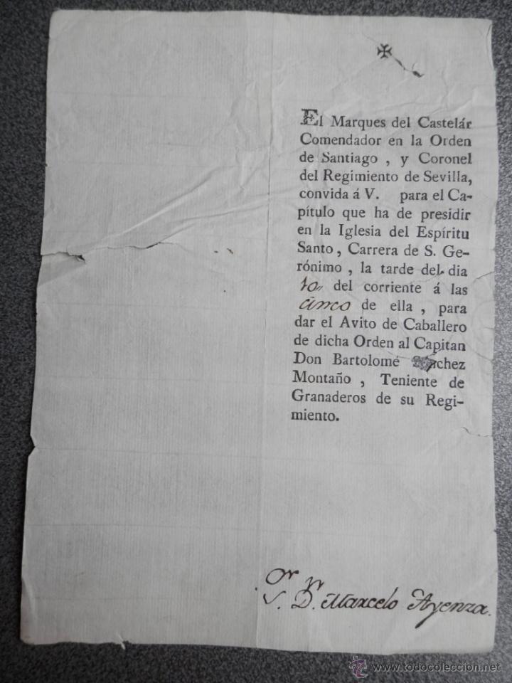 INVITACIÓN AL CAPÍTULO DE LA MILITAR ORDEN DE SANTIAGO - S. XVIII (Militar - Propaganda y Documentos)