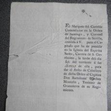 Militaria: INVITACIÓN AL CAPÍTULO DE LA MILITAR ORDEN DE SANTIAGO - S. XVIII. Lote 49587204