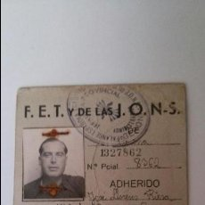 Militaria: CEDULA PERSONAL-CARNETPROVISIONAL F.E,T. Y DE LAS J.O.N.S. 1940. Lote 49751646