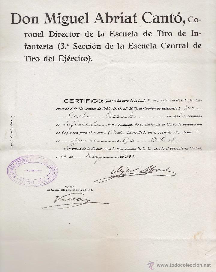 CERTIFICADO ESCUELA DE TIRO /MADRID- SUFICIENTE / JUAN CASTRO ORANTOS - MIGUEL ABRIAT CANTO AÑO 1930 (Militar - Propaganda y Documentos)